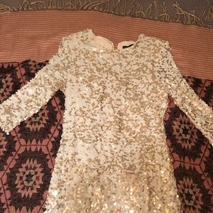 French Connection white and gold sequins dress